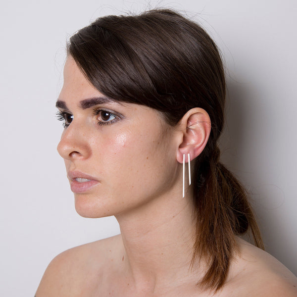'Asymmetric' Silver Long Stick Earrings