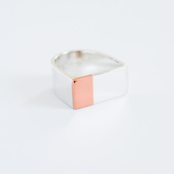 'Big Magnet' 9ct Rose Gold & Silver Ring
