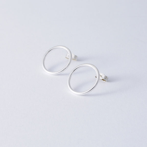 'Big Oh' Silver Earrings