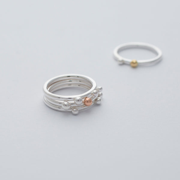 'Bubble Stackers' Silver/Silver & 9ct Rose Gold/Silver & 18ct Gold