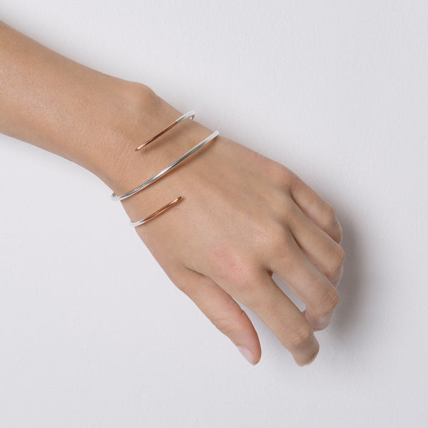 'Claw' 9ct Rose Gold & Silver Wraparound Bangle