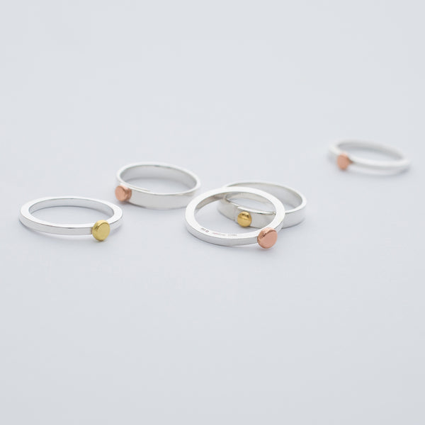 NEW 'Dot Band' Ring 9ct Rose Gold & Silver OR 18ct Gold & Silver