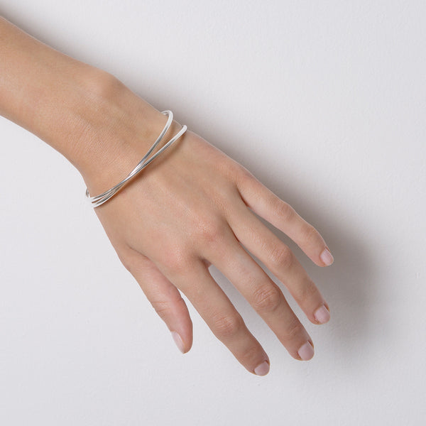 'Double Trouble' Silver Bangle