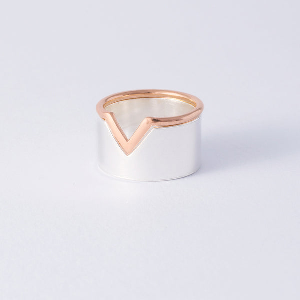 'Flip It' 9ct Rose Gold & Silver 2 part Ring