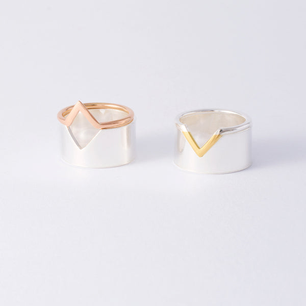'Flip It' 18ct Gold & Silver 2 Part Ring