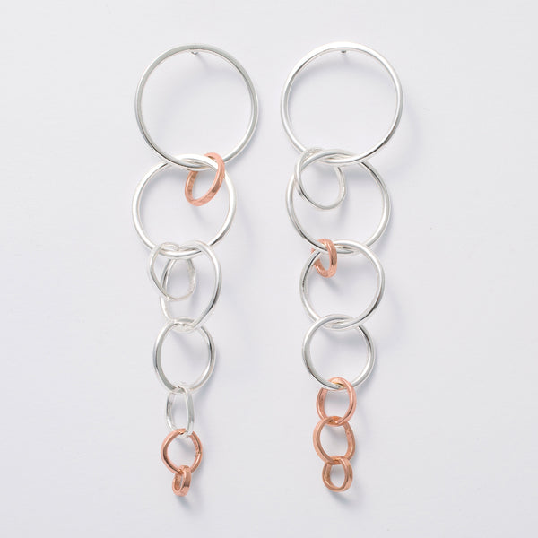 'Hoopy Loopy' 9ct Rose Gold & Silver Earrings