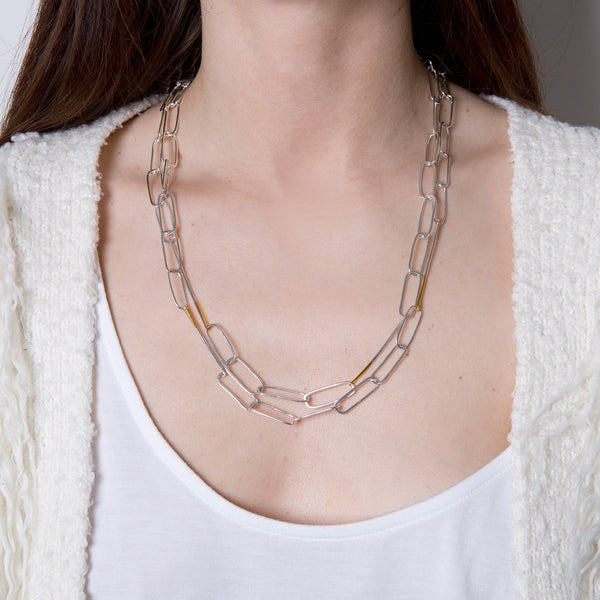'Link It' Long 18ct Gold & Silver Chain