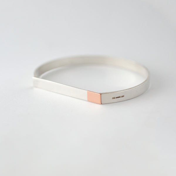 'Big Magnet' REDUCED Solid 9ct Rose Gold and Silver Bangle