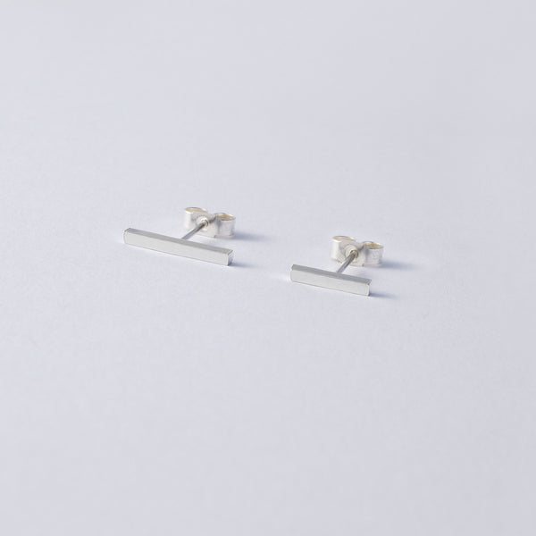 'Mismatched Sticks' Short Silver Earrings