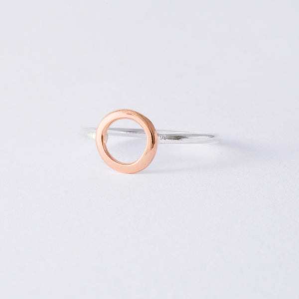 'Oh Mini Rose' 9ct Rose Gold & Silver Ring