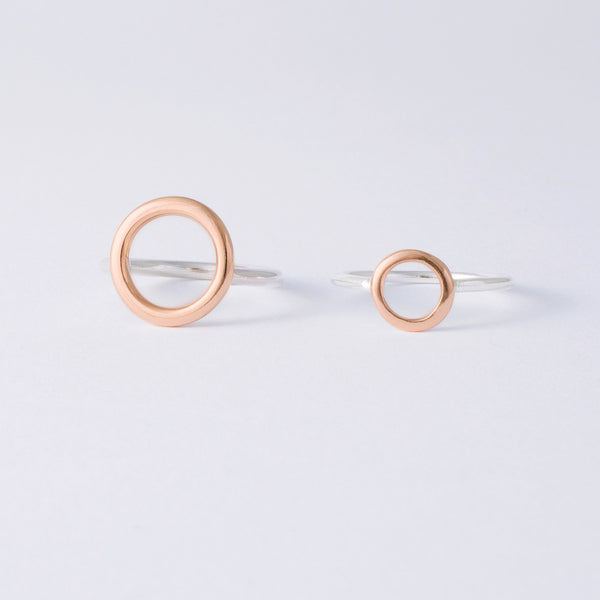 'Oh M Gee Rose' 9ct Rose Gold & Silver Ring