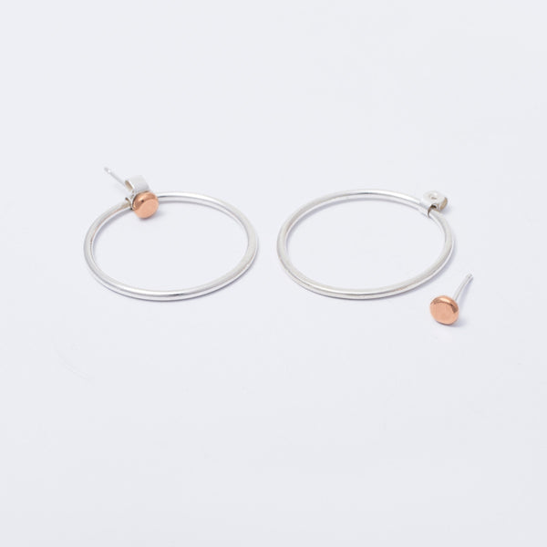 NEW 'Rose Dot and Hoop' 9ct Rose Gold and Silver Hoop Earrings (Wear Me 2 Ways)