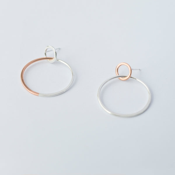 'Mismatched Rose Hoops' 9ct Rose Gold & Silver Earrings