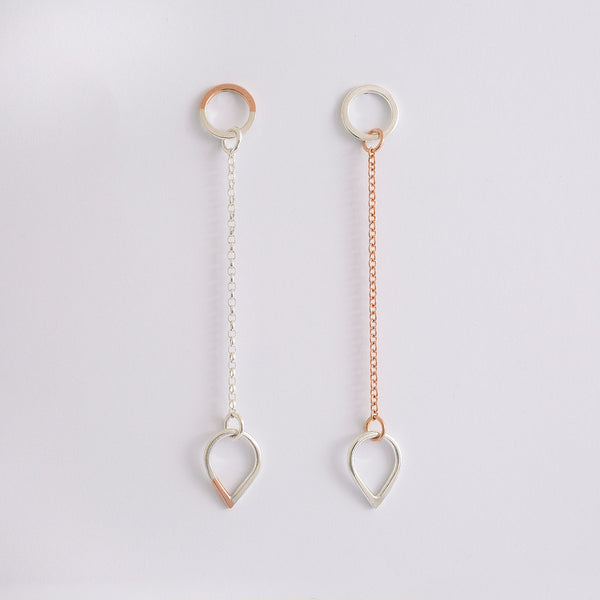 'Teardrop' 9ct Rose Gold & Silver Earrings