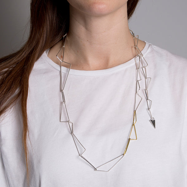 'Shard Chain' 18ct gold & sterling silver long chain