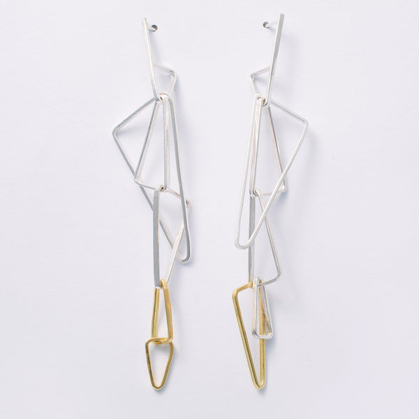 NEW 'Shard Earrings' 18ct gold & sterling silver earrings