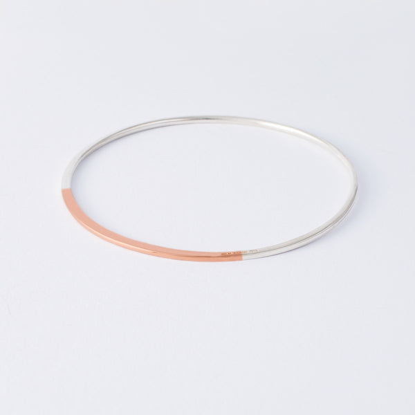 'Slice' 9ct Rose Gold & Silver Bangle