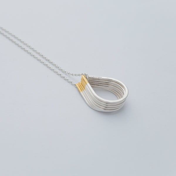 'Tear Drops' Seven 18ct Gold & Silver Stacking Rings/Necklace