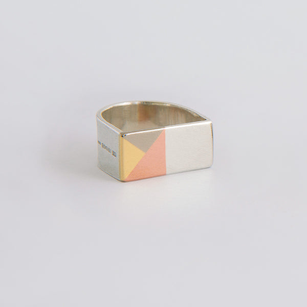 'Triangles' Ring 18ct Gold/Silver/9ct Rose Gold