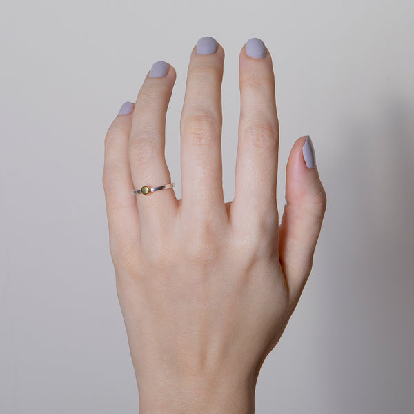 NEW 'Yellow Dot' 18ct Gold & Silver Ring