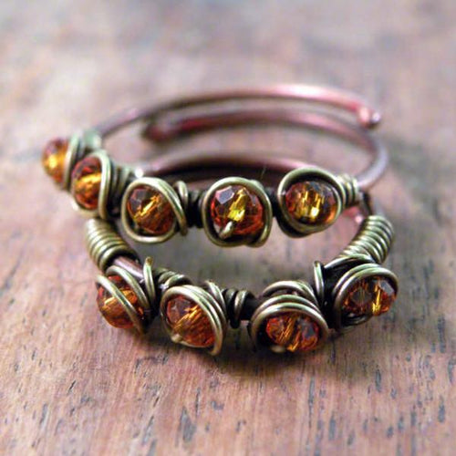 Set of Two Copper Boho Wire Wrapped Rings Orange