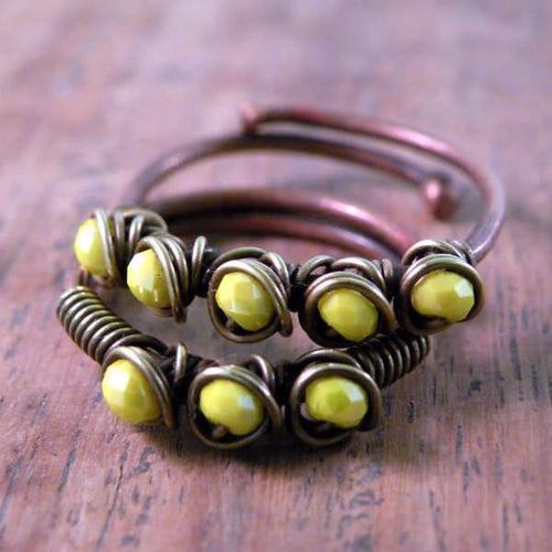 Set of Two Copper Boho Wire Wrapped Rings Yellow