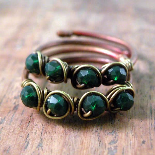 Set of Two Copper Boho Wire Wrapped Rings Bottle Green
