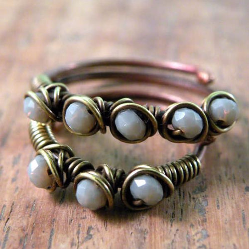 Set of Two Copper Boho Wire Wrapped Rings Grey