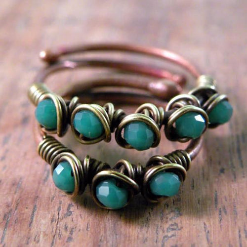 Set of Two Copper Boho Wire Wrapped Rings Rings Teal