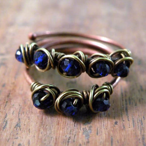 Set of Two Copper Boho Wire Wrapped Rings Ink Blue