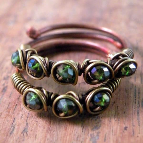Set of Two Copper Boho Wire Wrapped Rings Shiny Green