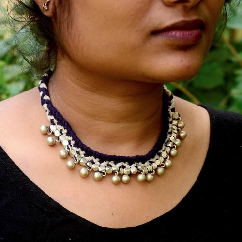 Blue Choker Dokra Necklace