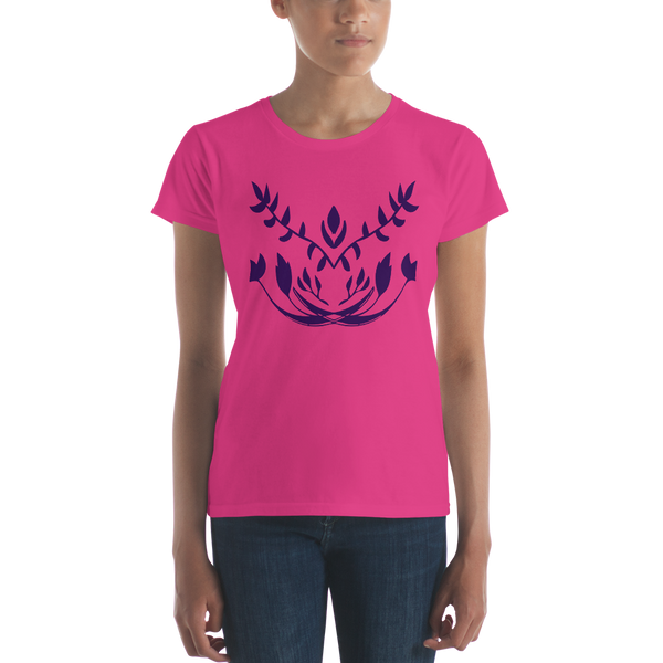 Geometric Floral Symmetry Purple Ink Women's short sleeve t-shirt
