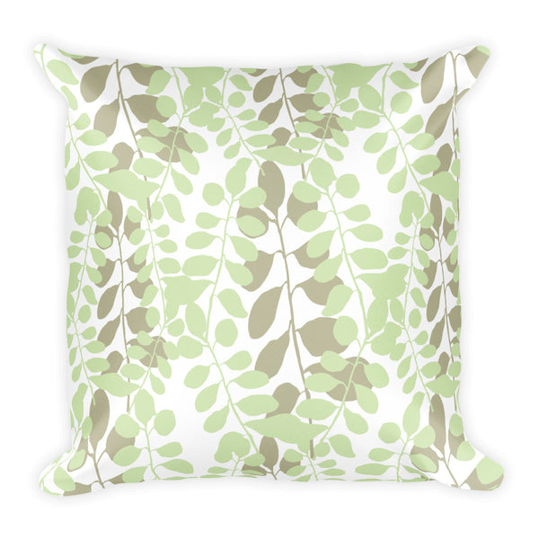 Green and Brown Leaf Pattern Pillow
