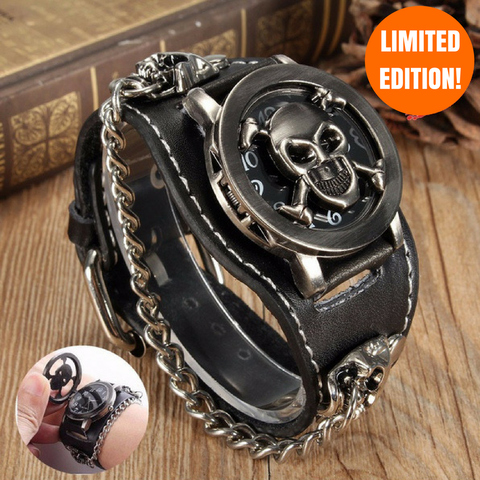 Leather Skull Wrist Watch