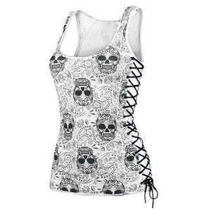 *Limited Edition* Lace Up Sugar Skull Tank