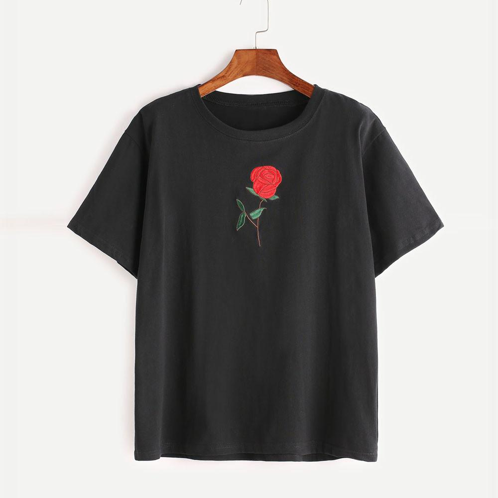 Embroidered Rose Top