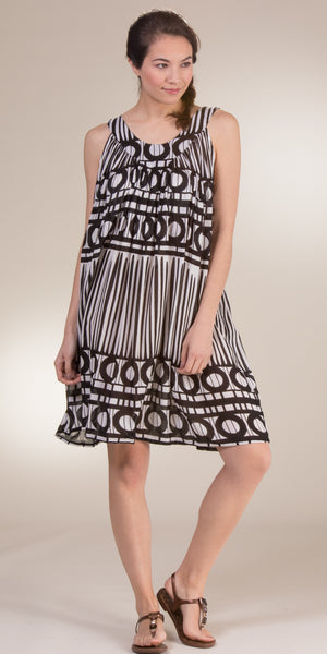 Belma Rayon Short Sleeveless Black and White Beach Dresses