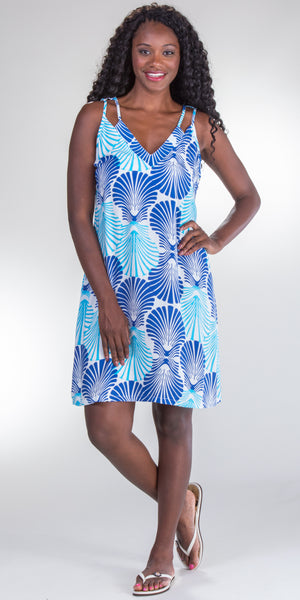 Peppermint Bay V-Neck 100% Rayon Short Shift Dress