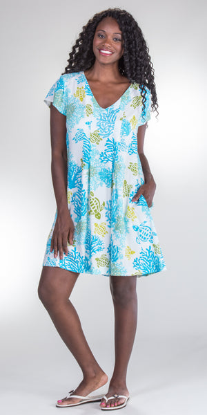 Peppermint Bay Short Rayon A-Line Tropical Print Dress (1258)