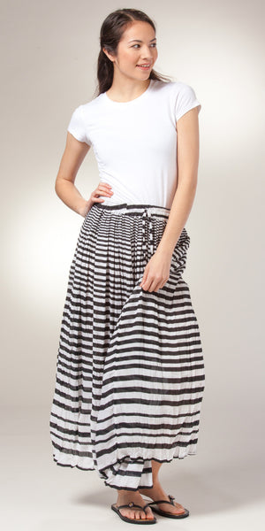 Belma One Size Semi-Sheer Crinkle Rayon Striped Skirt