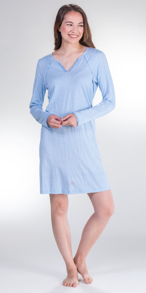 Sesoire Long Sleeve Cotton/Rayon Nightshirt in Blue Diamonds