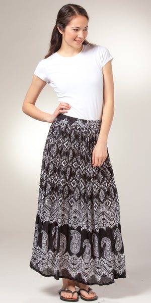 Belma One Size Semi-Sheer Rayon Floral Crinkle Skirt