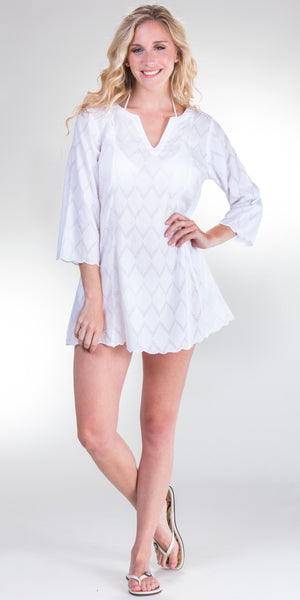 Peppermint Bay White Cotton Tunic/Beach Cover Up