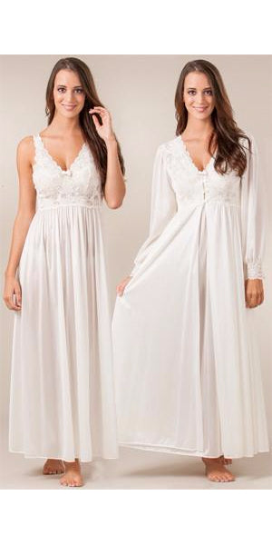 Shadowline Silhouette Long Ivory Nightgown and Robe Set (31727/71737)