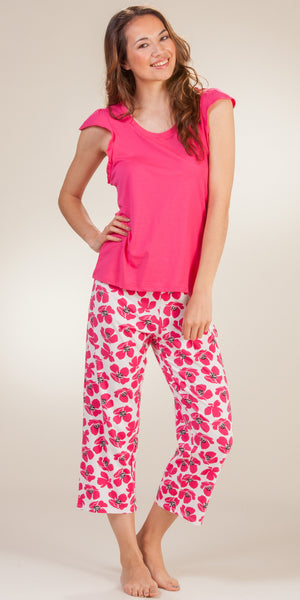 Jockey Cap Sleeve & Capri Cotton-Rich Floral Pajama Set