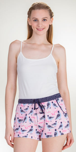 Jane and Bleecker Cotton Rayon Flannel PJ Boxer Shorts in Sweet Tweet