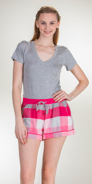 Jane and Bleecker Cotton Rayon Flannel PJ Boxer Shorts in Pink Plaid