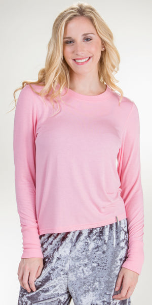 Jane and Bleecker Long Sleeve Rayon Top in Peony