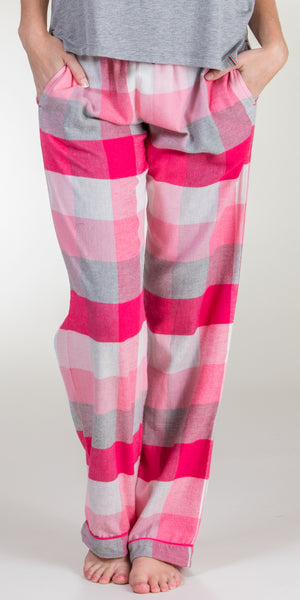 Jane and Bleecker Cotton/Rayon Flannel Pajama Pants in Pink Plaid